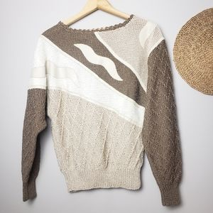 Vintage Hand Knit Sweater Multiple Textures